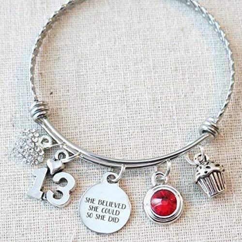13th BIRTHDAY GIFT, 13th Birthday Ruby Birthstone Charm Bracelet, Teenage Daughter Gift Ideas, Thirteenth Birthday She Believed She Could Charm Bracelet, Gift For July Birthday