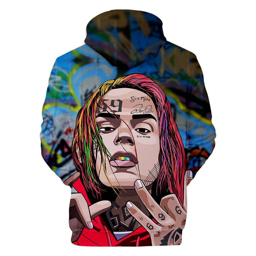 2019 Mens Womens 3D Printing 6ix9ine Pullover Hoodie Sweatshirt Casual Jacket Hooded Sweater for Men and Women