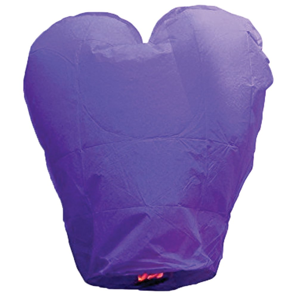 Just Artifacts Premium Quality ECO Wire-Free Flying Chinese Sky Lanterns (Set of 10, Heart, Purple) - Topnotch Flight, Biodegradable, Environmentally Friendly Lanterns! by Just Artifacts