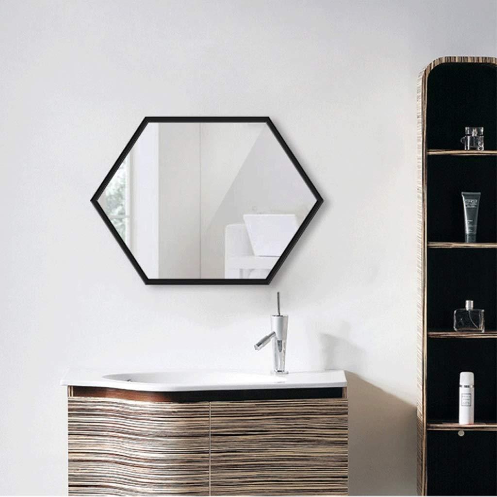 Black 40x60cm YYHSND Round Mirror Metal Frame Vanity Mirror gold 60 cm Wall Hanging Mirror Bedroom Bathroom Living Room Entrance Large Hexagon Metal Wall Mirror Bathroom Mirror 60x80cm gold Black Wall Mirror