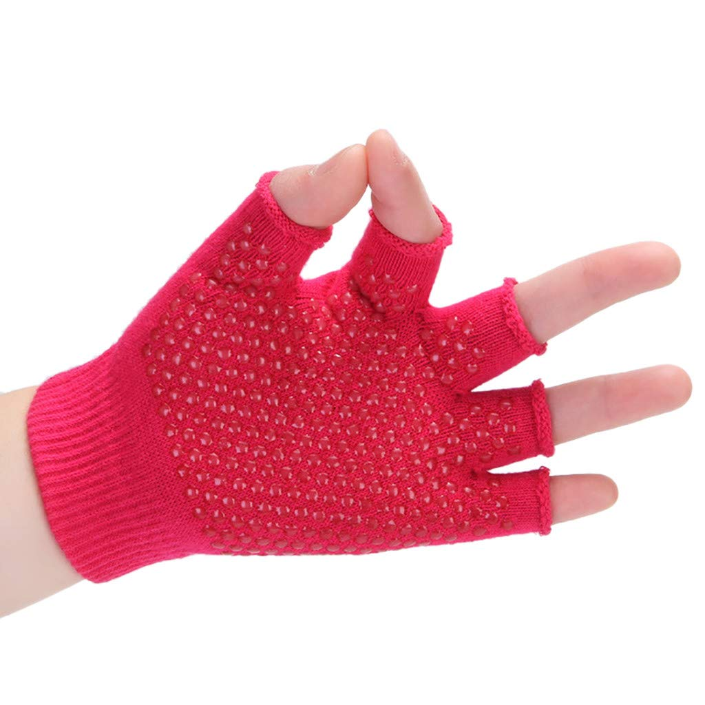 Sinwo Womens Gym Body Building Training Sports No-Slip Yoga Pilates Workout Gloves (Hot Pink)