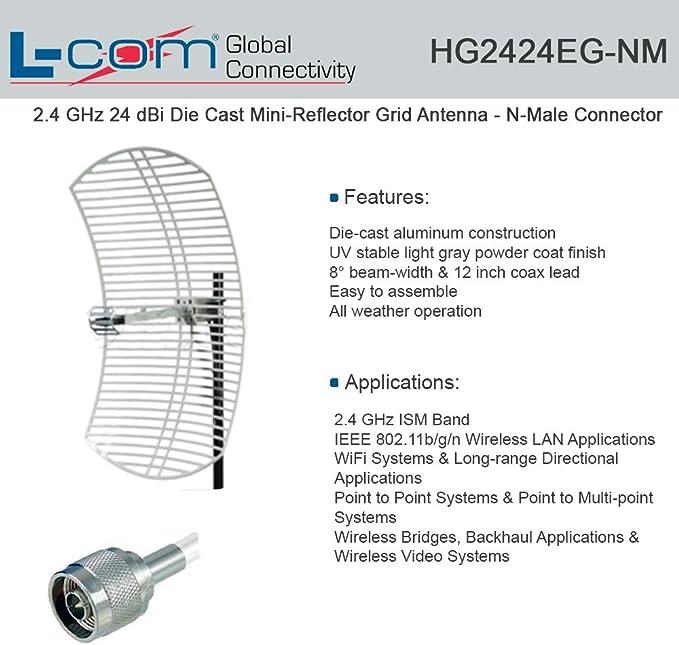 l-com hg2424eg-nm – 2,4 gHz Antena de rejilla 24 Dbi mini-reflector de fundición