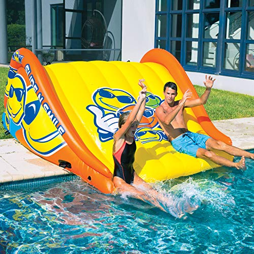 WOW World of Watersports 19-2210 Slide N Smile Floating 2 Lane Waterslide, 9 Feet Long (The Best Water Slides)
