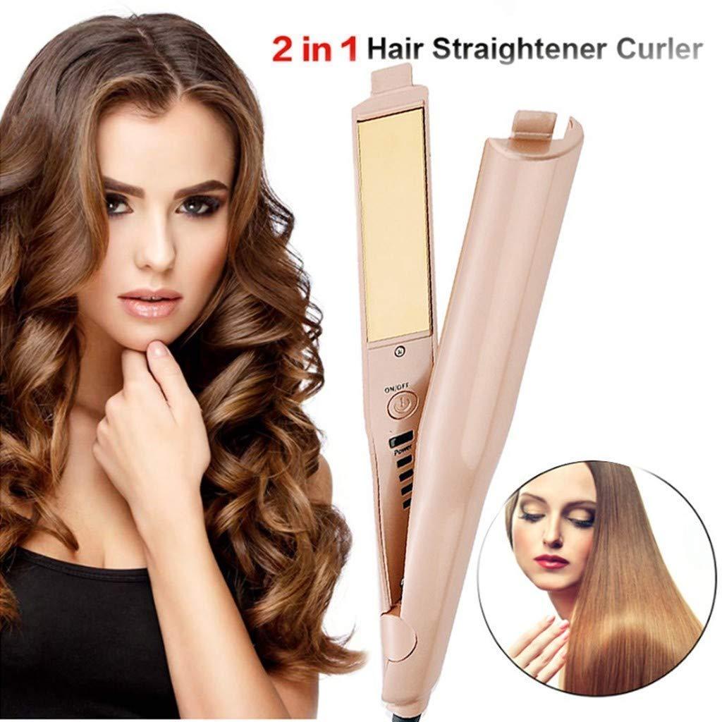 2 en 1 plancha de pelo profesional y rizador de pelo curling hierro mojado y seco hierro plano Styler pelo pelo curling hierro cerámica: Amazon.es: Belleza