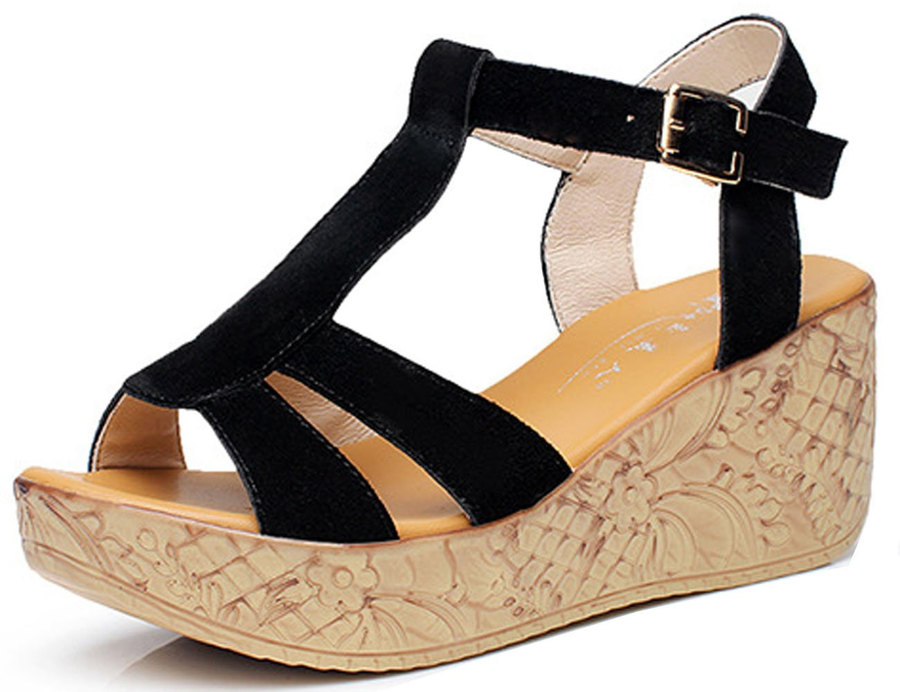 WAROFT Women's Cow Leather Fashion T Strap Platform Wedges Sandal with Buckle Shoes Size 4-10 B07CGR8LHR 4.5 B(M) US|Black