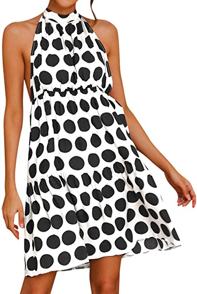 Keepmove Women Vintage Boho Summer Long Sleeve Beach Printed Short Mini Dress