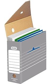 Elba 83422 - Caja de almacenamiento para archivadores (10 unidades), color gris y