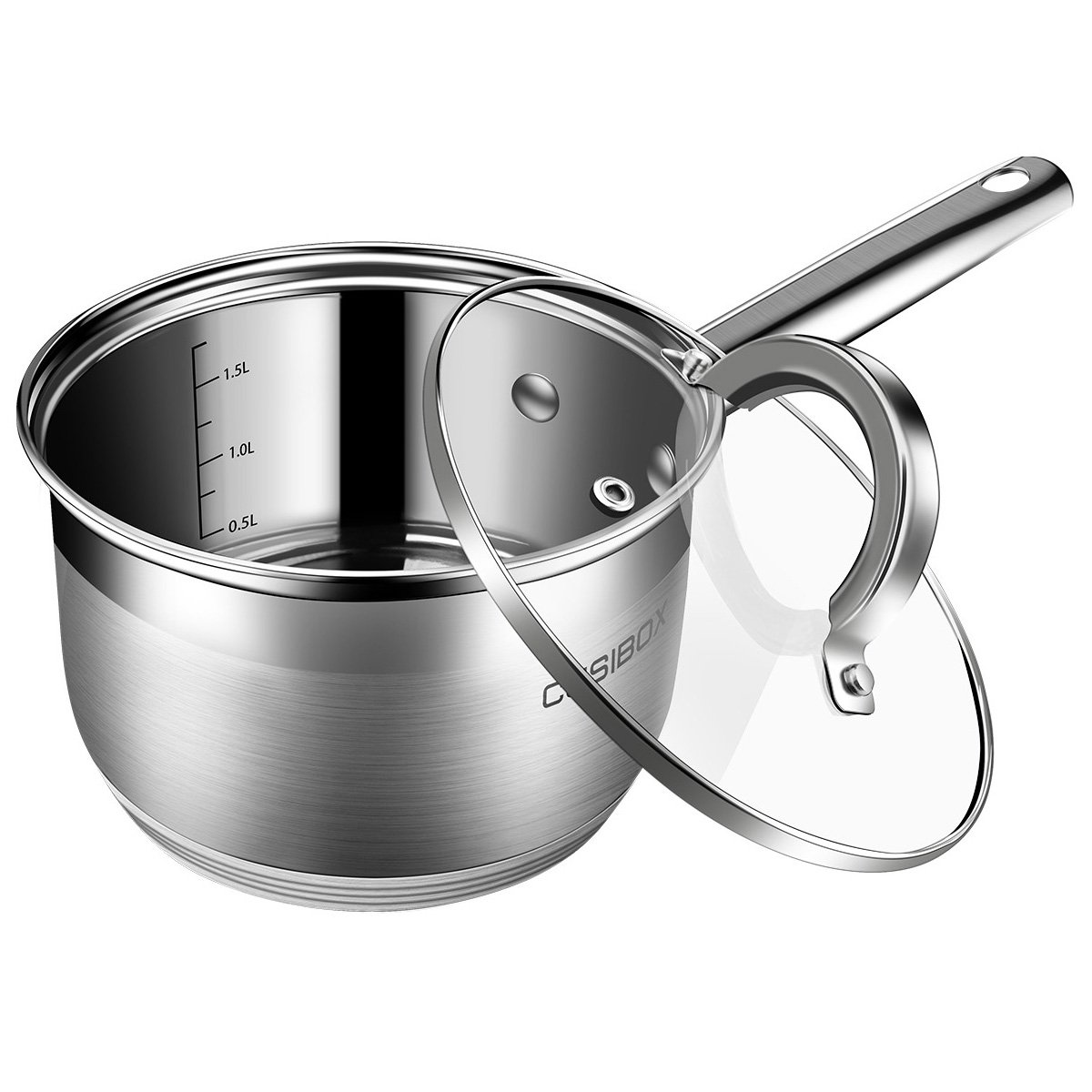 Saucepan 2 Quart, Sauce Pan with Lid Stainless Steel - Aluminum Pot