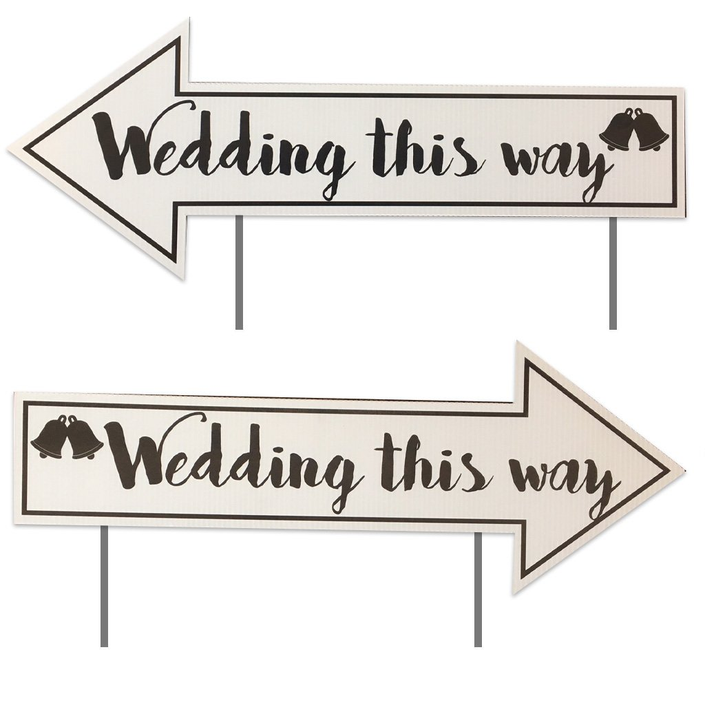 Wedding Directional Signs (2 pack) with 2 stakes per sign - 23''x9'' - Corrugated Plastic