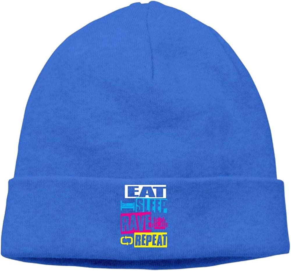 Eat Sleep Rave Repeat Skull Hat Beanie Hat Unisex RoyalBlue
