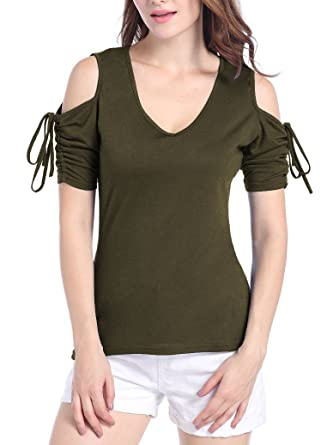 fb1ef8f6794ad Women s Solid Cut Out Shoulder Short Sleeve T Shirt Tops Blouse at ...
