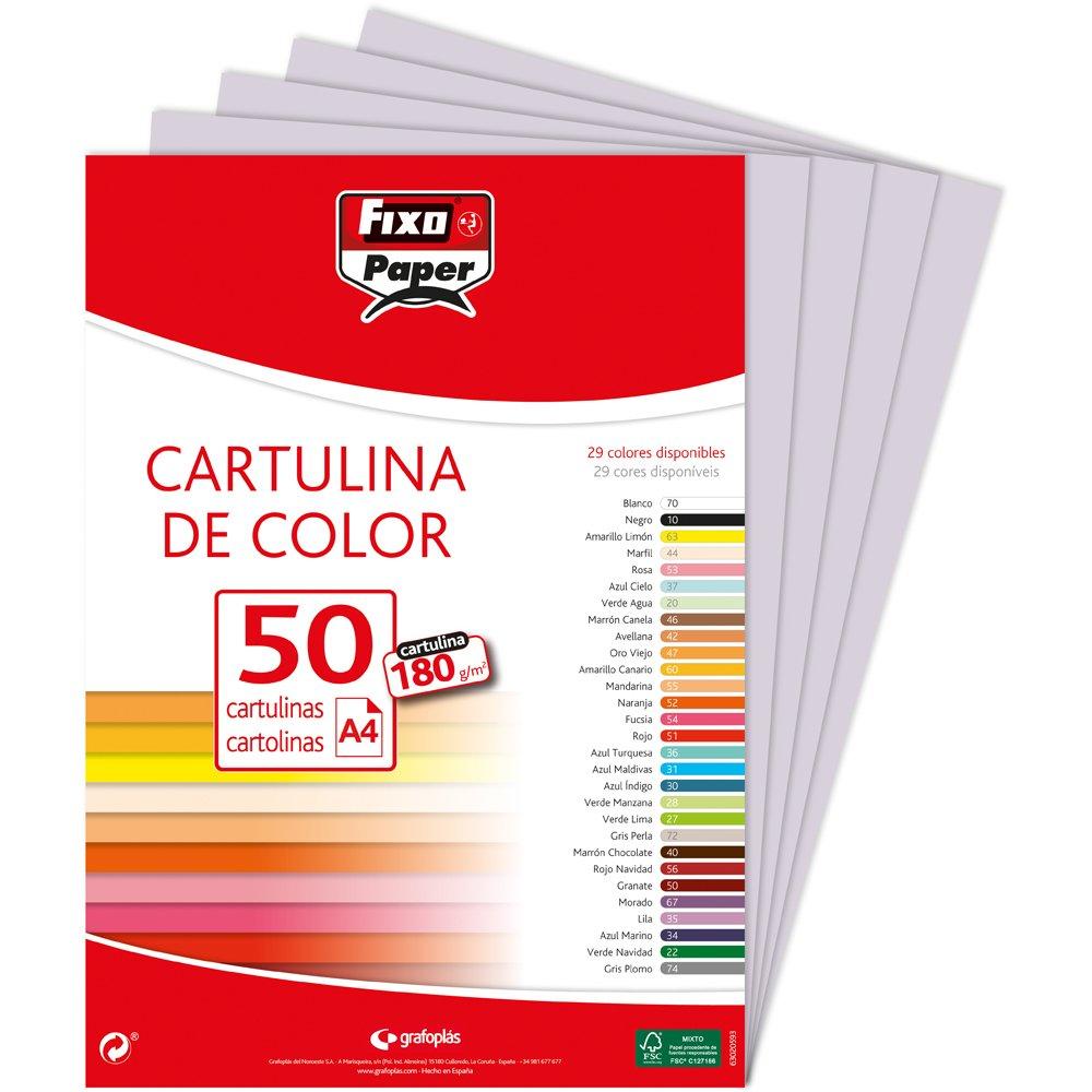 50 unidades Surtido de colores fuertes I Paquete de cartulinas de colores A4 Fixo Paper 00001494 180g