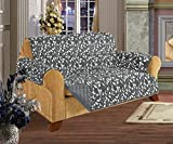 Quilted Pet Dog Children Kids Furniture Protector Slip Cover, Leaf Design Gray Love Seat