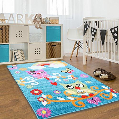 Kinder Teppich Moda Öko Tex Eule türkis bunt verschiedene Größen 160x225 cm