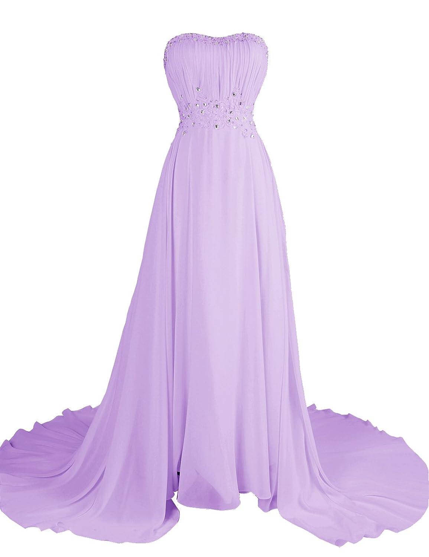 Dresstells Damen Abendkleid Lang Chiffon Schulterfrei Ballkleid DT90628