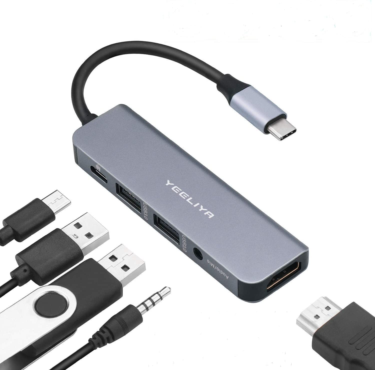 USB C Hub, Type C Adapter 5 in 1 Ports Adapter to HDMI 4k, 3.5mm Audio/Mic Port, USB3.0/USB2.0 Port, Multiport Adapter Thunderbolt 3 Support Dongle for Apple MacBook Pro Huawei Matebook