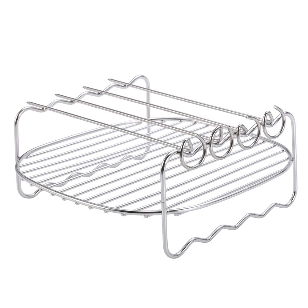 8 inch Stainless Steel Air Fryer Double Layer Rack Skewers Baking Shelf Grill BBQ Rack Kitchen Accessory for Air Fryer