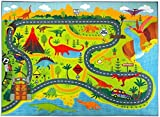KC Cubs Playtime Collection Dinosaur Dino Safari Road Map Educational Learning & Game Area Rug Carpet for Kids and Children Bedrooms and Playroom (5'0'' x 6'6'')