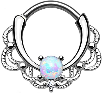 Blue Stones 1pc Titanium Steel Opal Stone Septum Nose Ring Opal