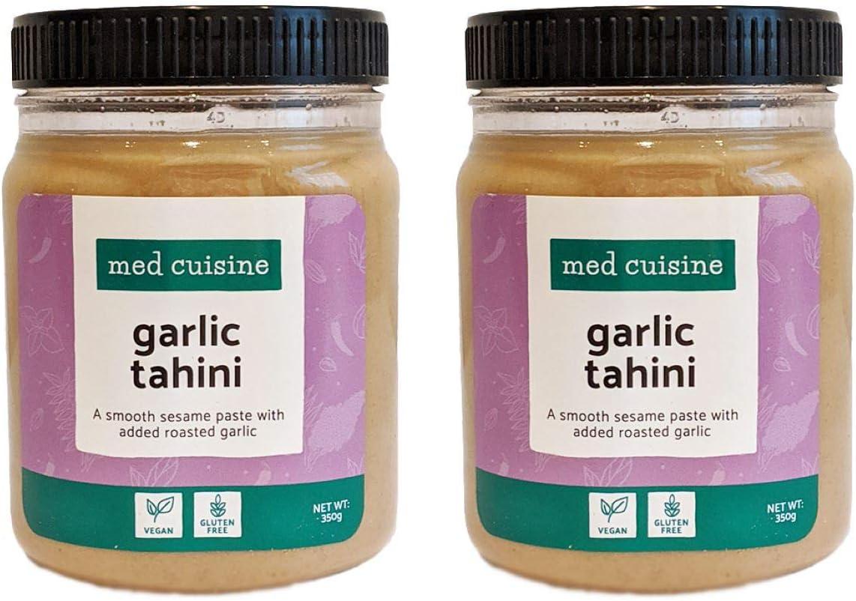 Med Cuisine Roasted Garlic Tahini - Pasta De Sésamo Suave Con Ajo Asado - Fuente De Hierro Y Calcio - Salsa Tahini Con Ajo - Vegano, Sin Gluten, Sin Nueces Y Kosher - 350g