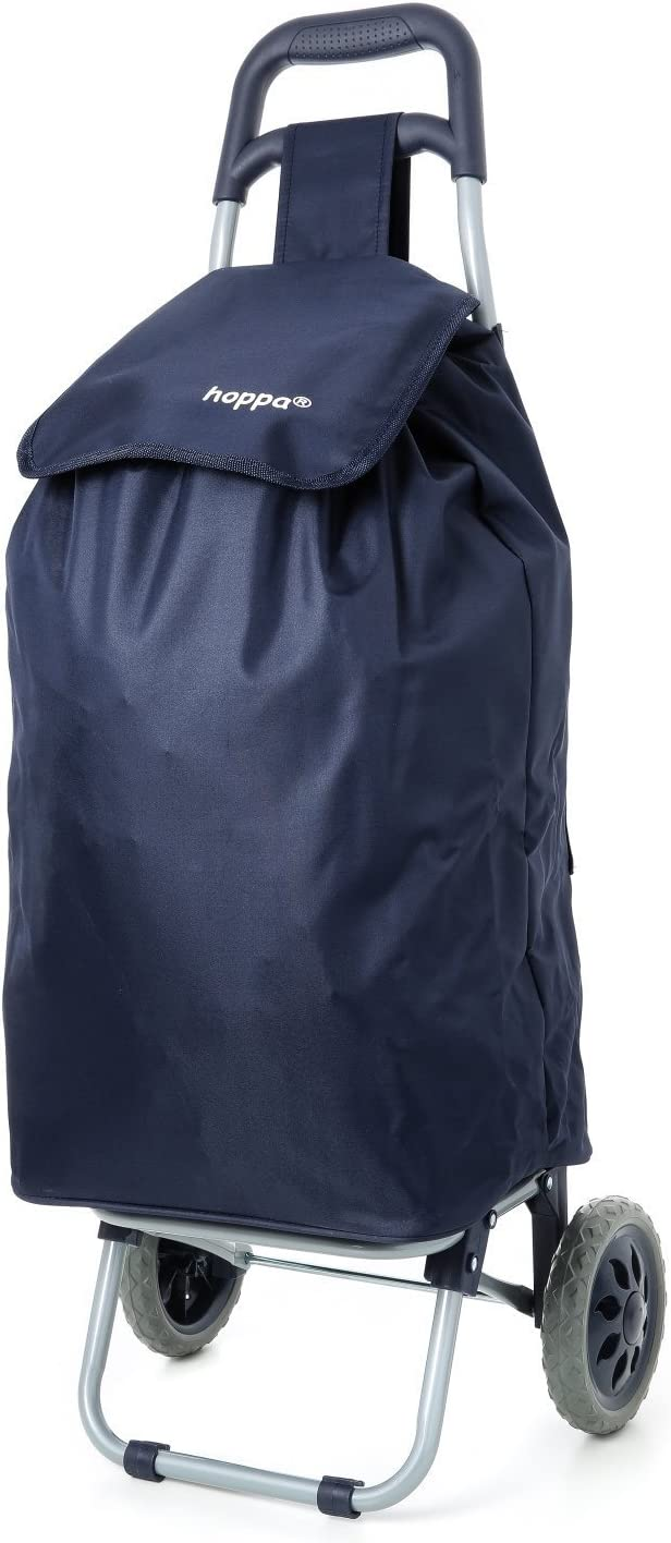 Hoppa 47L Bolso Plegable Ligera Carrito de Compras sobre Ruedas (Azul Marino)