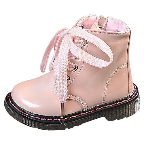 Botines Niña de Cordones Acogedor Botas de Nieve de Niñas Botas de Martin Estilo Británico Zapatos