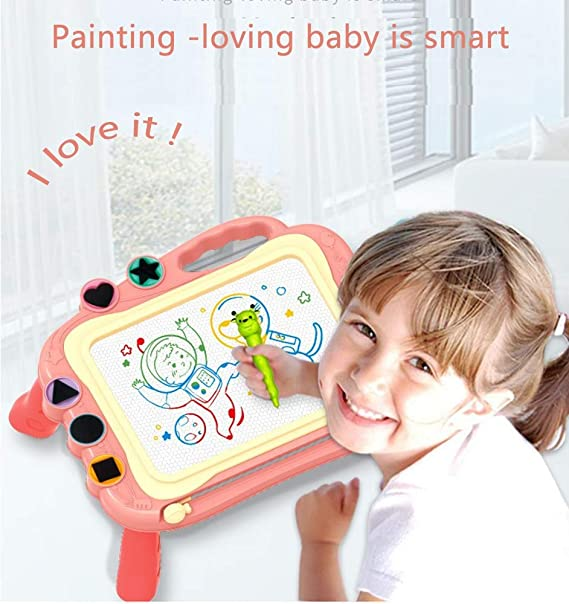 Includes Magnetic Pen and 10 Traceable Picture Cards 7 L x 8.5 W HearthSong/® Mini MadPad Magnetic Drawing Board for Kids