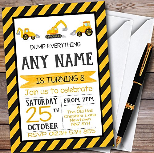 10 x Digger Construction Dump Everything Personalized Childrens Birthday Party Invitations]()