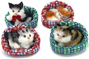 Coolayoung 4Pcs Sleeping Cat in Cattery Doll Toy, Mini Kitten on Pet Pad Decor for Office Desk Hand Toy Gift for Kids Boys Girls