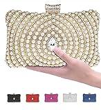 Pulama Womens Metallic Box Clutch Sparkling Rhinestone Evening bag Faux Pearl Minaudiere With Interlayer (Gold)
