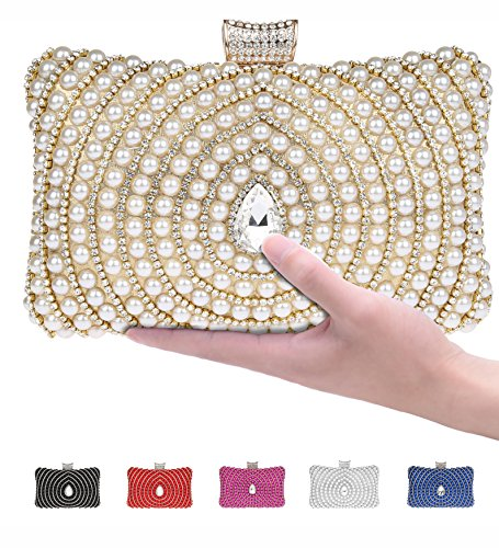 Pulama Womens Metallic Box Clutch Sparkling Rhinestone Evening bag Faux Pearl Minaudiere With Interlayer (Gold)