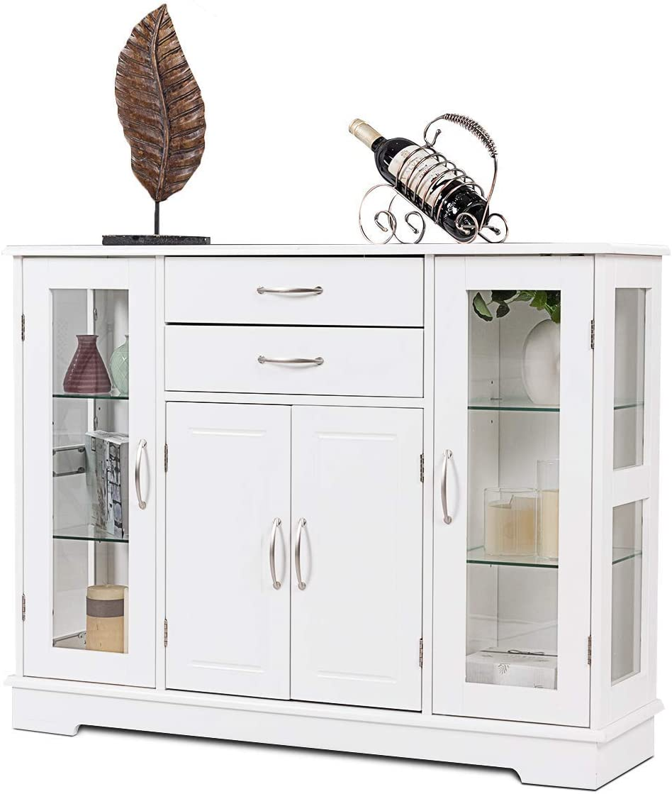 Giantex Sideboard Buffet Server Storage Cabinet W/ 2 Drawers, 3 Cabinets  and Glass Doors for Kitchen Dining Room Furniture Cupboard, Console Table  ...