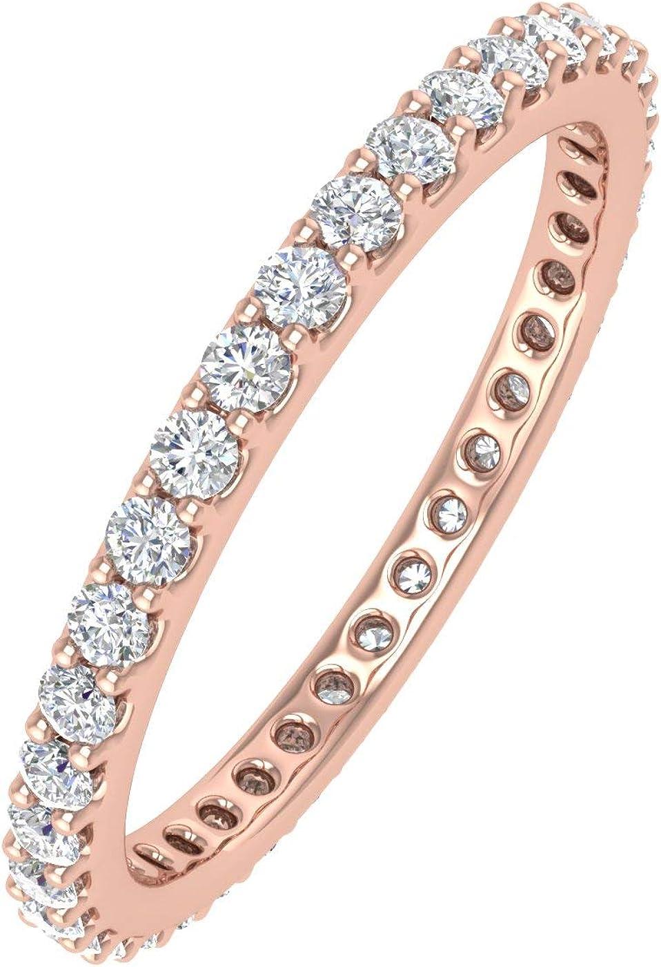 1/2 Carat to 0.51 Carat Diamond Eternity Wedding Band in 14K Gold