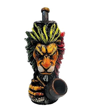 Rasta Scar Lion Smoking Pipe - Handmade Tobacco Pipe - Hand Pipe - Smoking  Bowl -