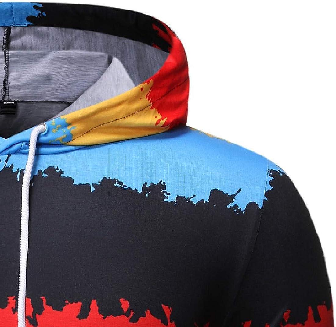Abeaicoc Mens Pullover Drawstring Christmas Printed Pockets Contrast Hooded Sweatshirt