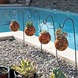 WELLAND Solar Powered Montage Round Glass Lantern Plant Pot Set of 4