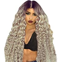 PlerD Brazilian human hair Ombre blonde Full lace wigs Dark root Loose wave Lace front wig Bleached knot Pre plucked hairline 130% density