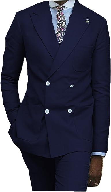 YSMO Herren Zweireiher Blazer 2 Stück Anzug Jacke & Pants