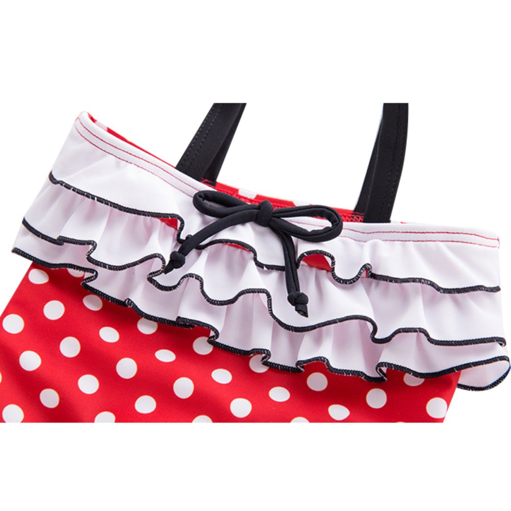LOSORN ZPY Baby Girl One Piece Swimsuit Polka Dot Bathing Suit Rash Guard with Swim Cap
