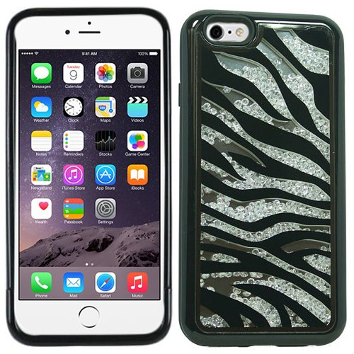 Black Silver Zebra Bling Rhinestone Crystal Shaker Case Cover Diamond For Apple iPhone 6 PLUS with Free Pouch