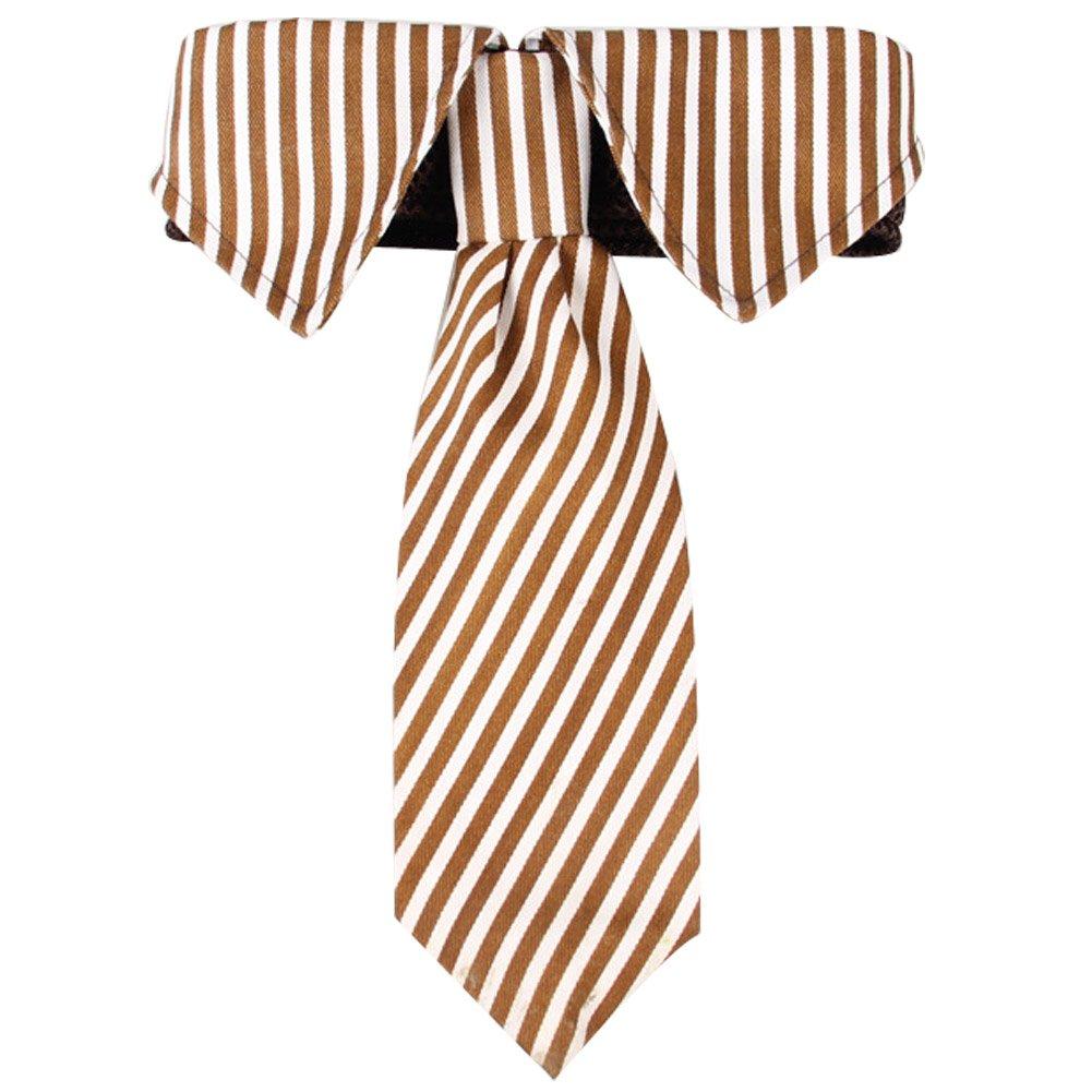 Coffee S Coffee S BUYITNOW Dog Necktie Collar Adjustable Stripe Neck Tie for Medium Large Dogs