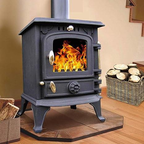 lincsfire 5,5 kW Multifuel estufa quemador de madera LOG combustión chimenea hierro fundido diseño