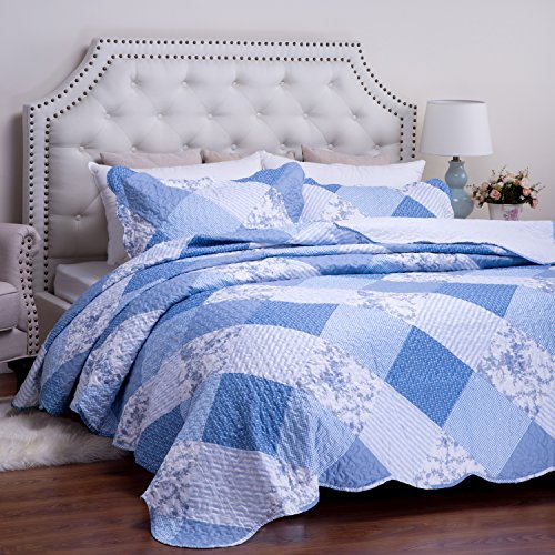 Printed Quilt Coverlet Set Full/Queen Blue Floral Patchwork Pattern Lightweight Hypoallergenic Microfiber