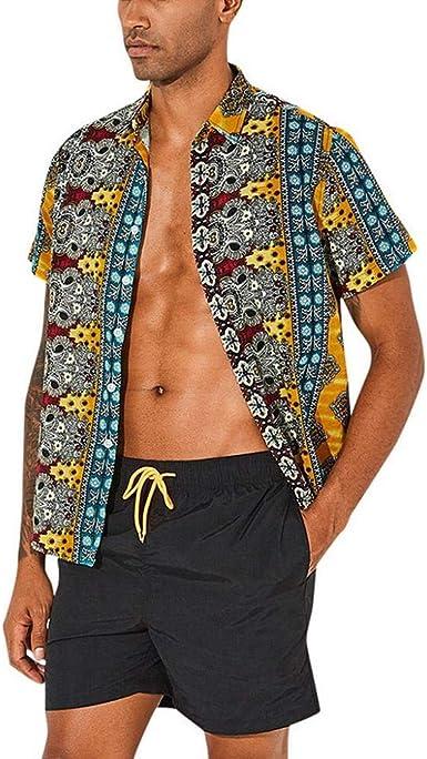 VJGOAL Camisa Hawaiana Estampada para Hombre Verano Casual Manga Corta Tops de algodón Sueltos Tallas Grandes Botones de Solapa Retro Blusa: Amazon.es: Ropa y accesorios