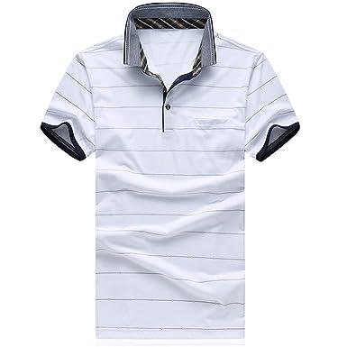 Polo para Hombre Polo De Rayas Fit De Grandes Slim Verano Camiseta ...