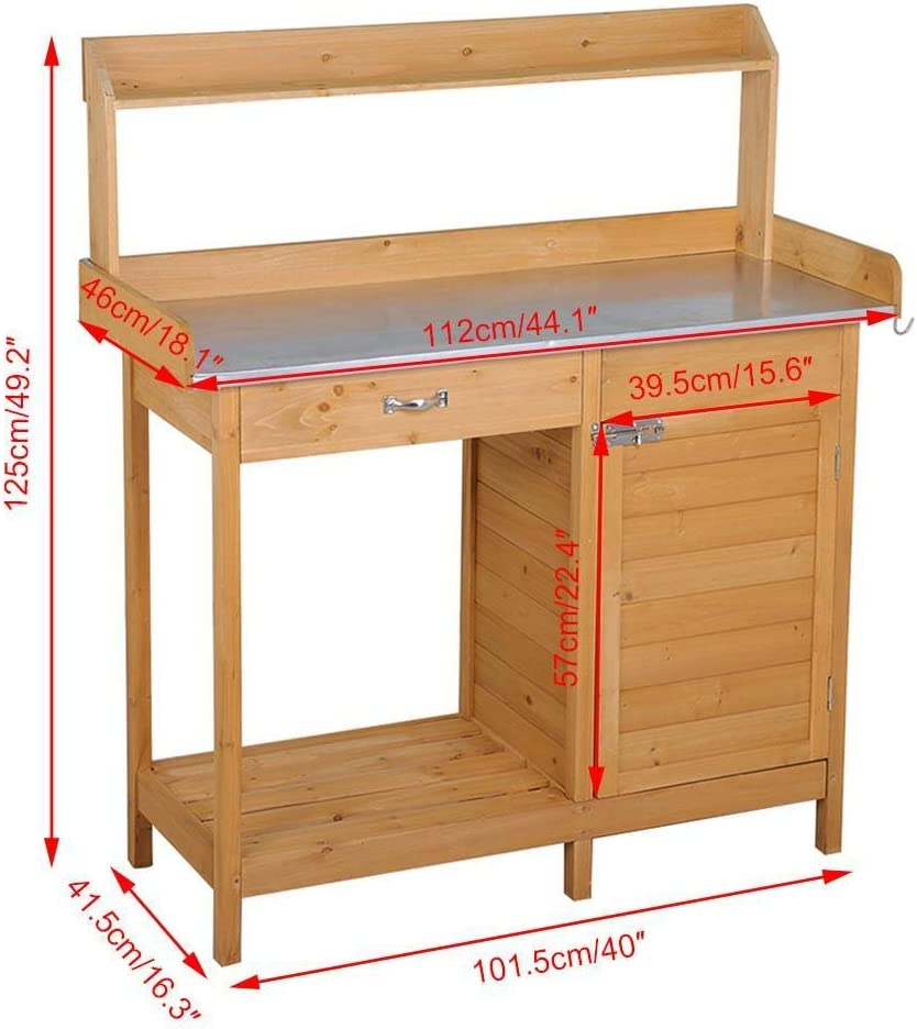 Yaheetech Outdoor Garden Potting Bench Table Work Bench Metal Tabletop W Cabinet Drawer Open Shelf Natural Wood