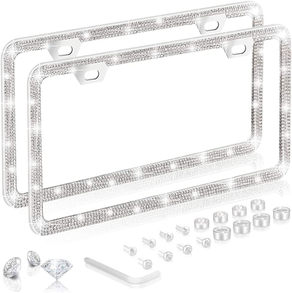 Bling License Plate Frame Set: Touch of Class Diamond Cut Rhinestone License Plate Frame for Women Glitter Crystal Car Accessories 2 Pack Cute /& Sparkly Bedazzled Stainless Steel Car Plate Frames