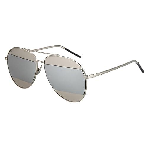 Tijn bicolore a goccia in metallo flash specchio piatto lente Aviator occhiali da sole