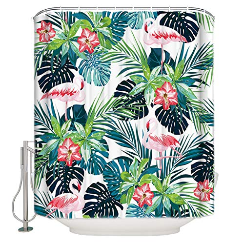 CHARMHOME Tropical Plant Shower Curtain Pink Flamingos with Palm Leaves Floral Creative Flamingo Shower Curtain Set with 12 Hooks,Waterproof Fabric,60X72 Inch