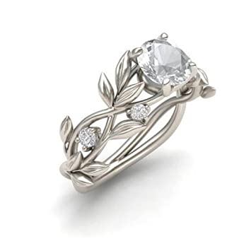 Womens Rings Kintaz Clearance Women Vintage Band Silver Floral Transparent Diamond Flower Vine Leaf